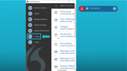 Where to access integrated training from within Dragon Medical One video screengrab