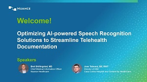 Optimize AI-powered speech recognition solutions to streamline telehealth documentation webinar thumbnail