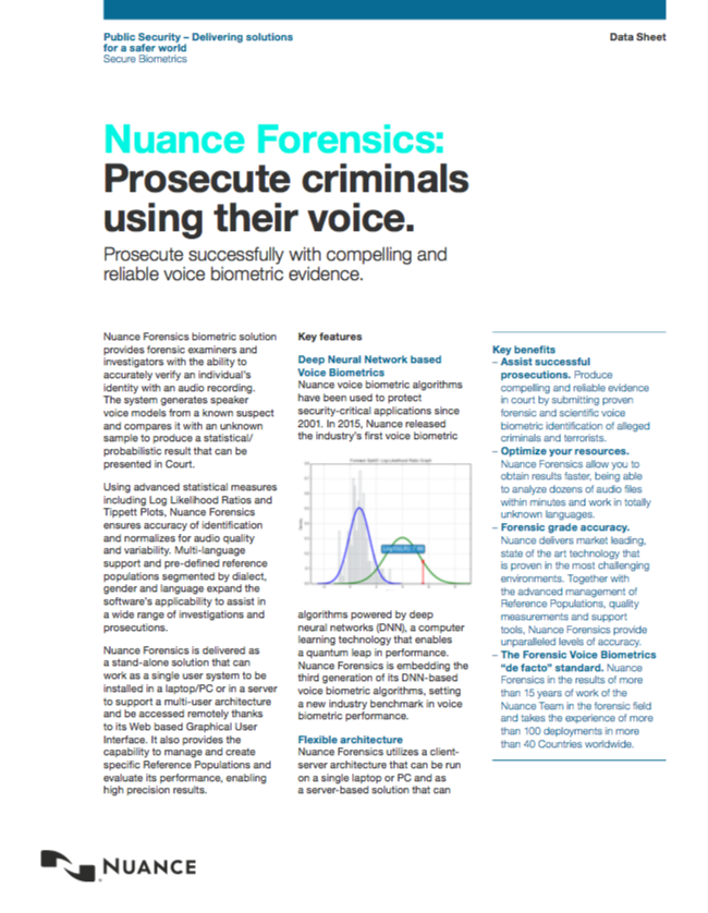 Public Security  Forensic Biometrics Nuance