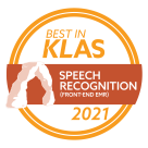Best in KLAS 2021 speech recognition front end emr seal